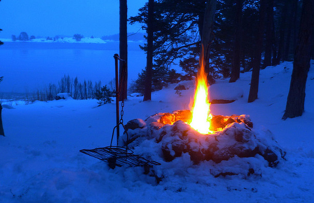 Campfire In the Snow